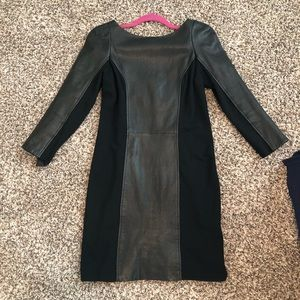 DVF Black Leather Dress